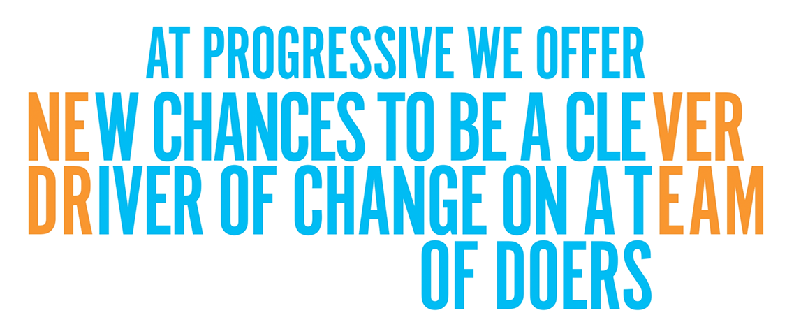 At Progressvie we offer new chances to be a clever driver of change on a team of doers