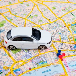 toy car on a map