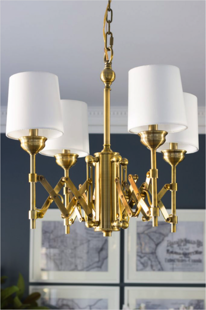 Modern gold and white chandelier