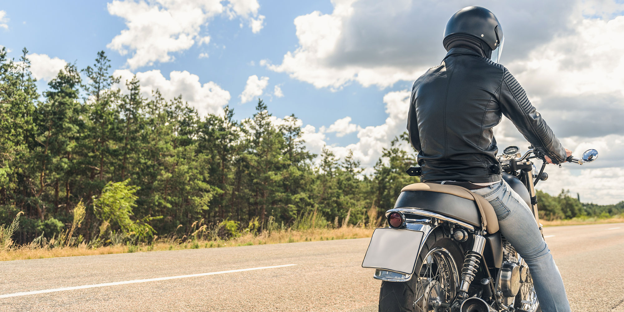 man on cross country motorcycle trip