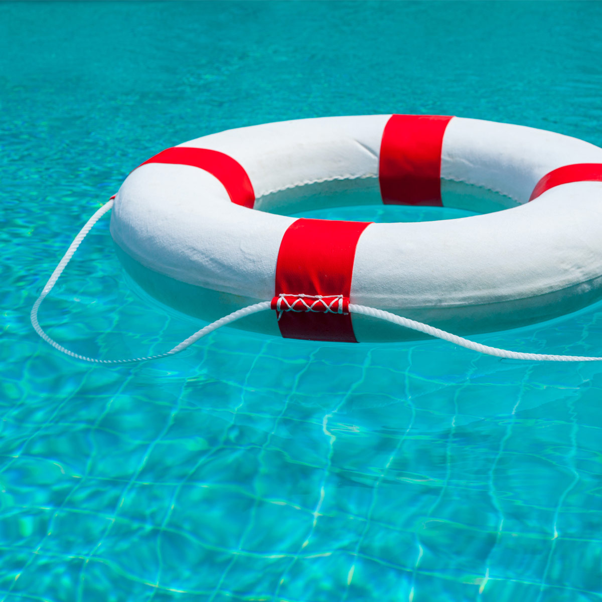 red life ring in pool