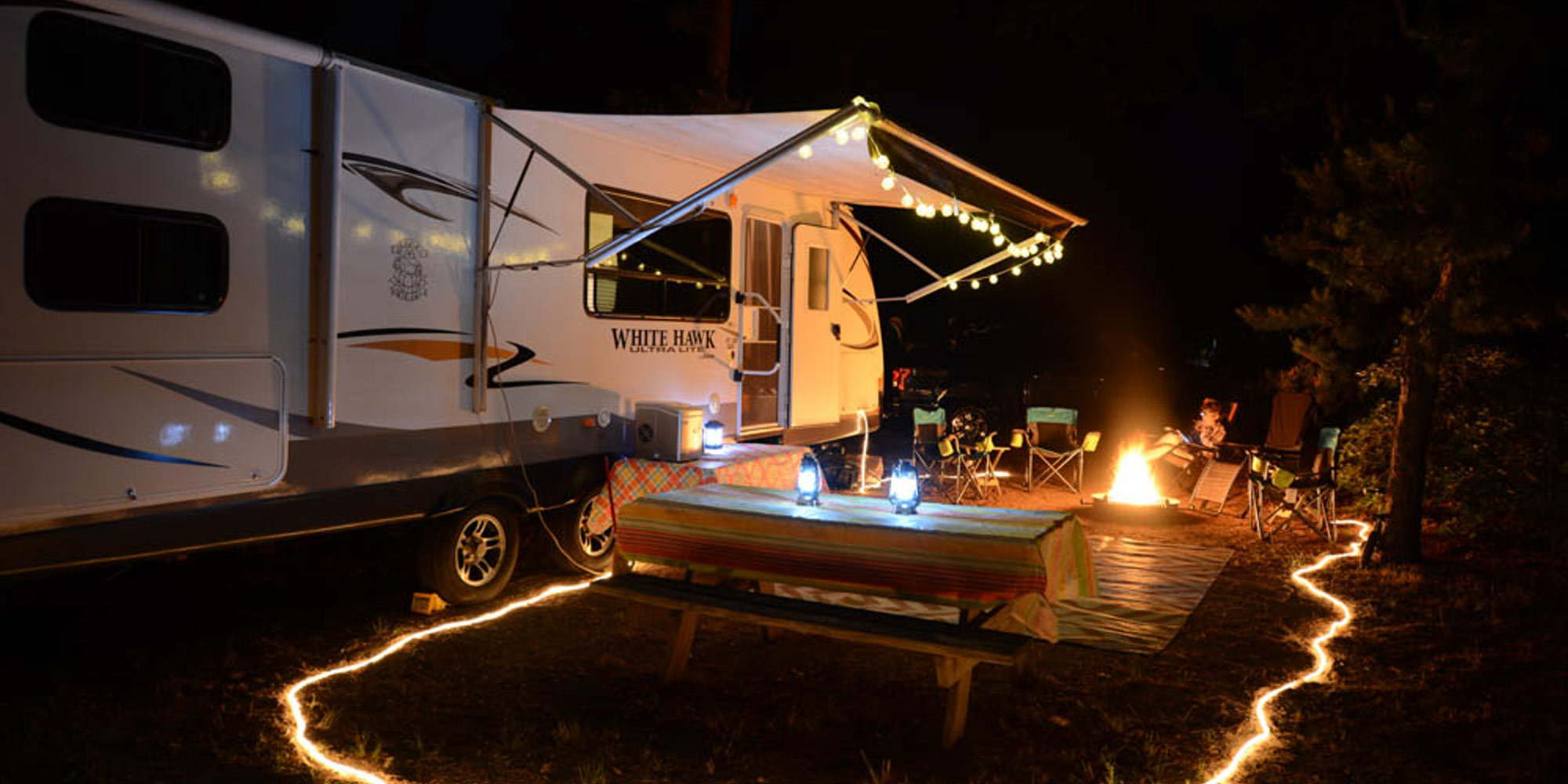 RV campground at night with lights