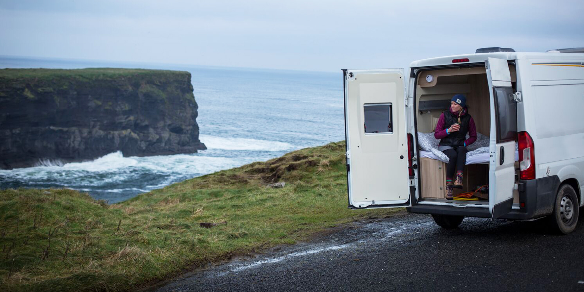 van by the ocean