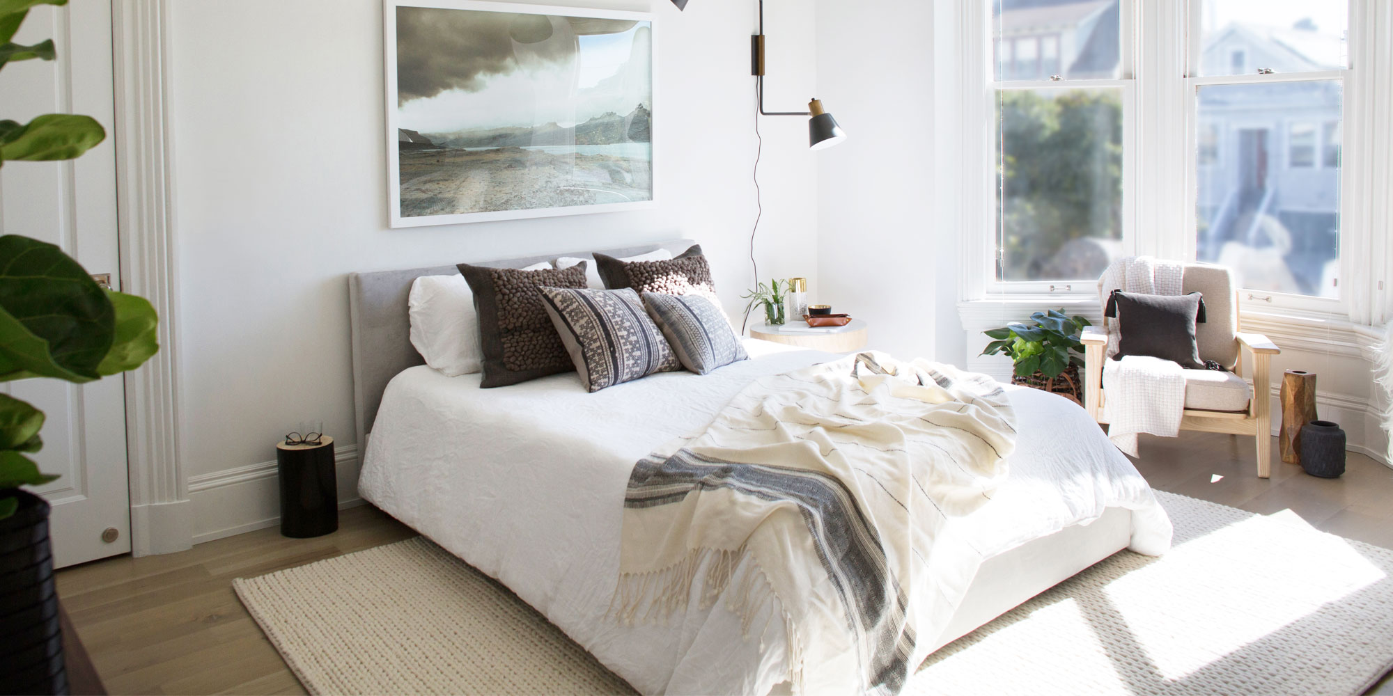 big bright bedroom with lots of natural light