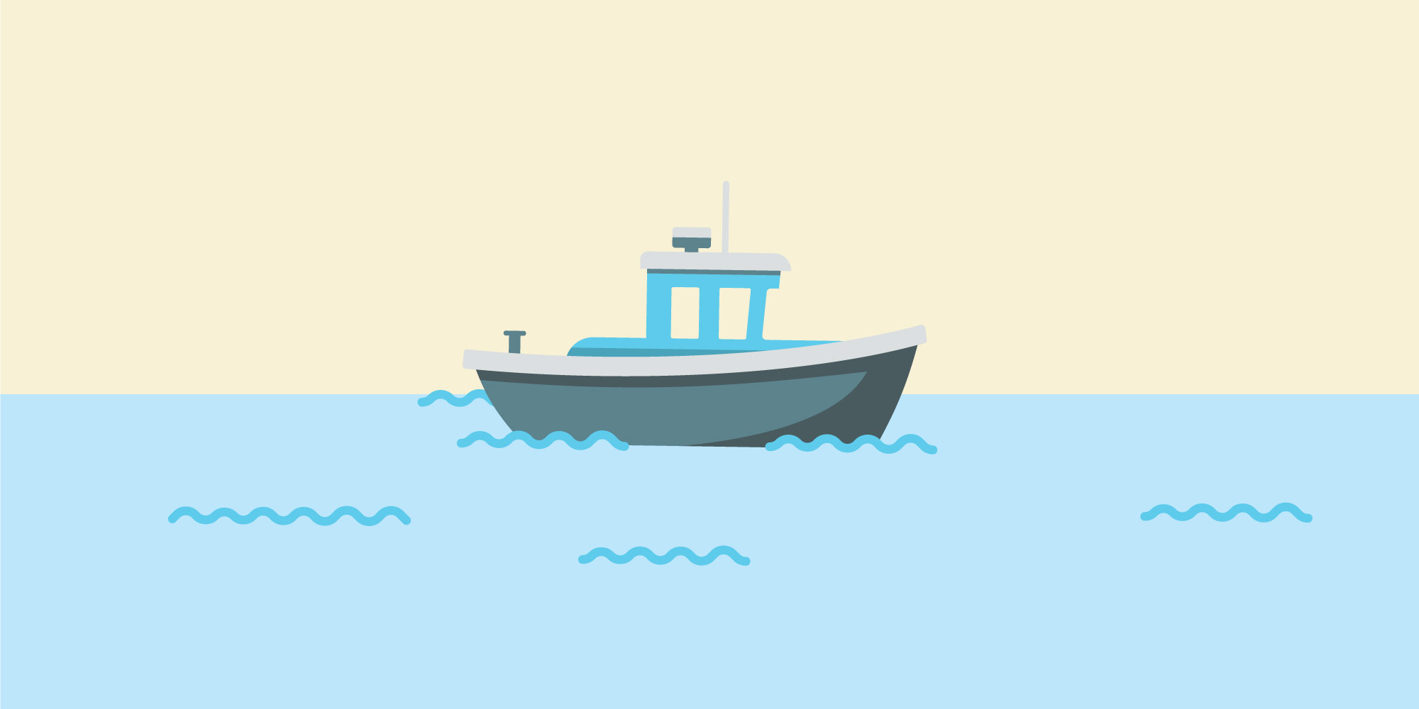 boat at sea illustration