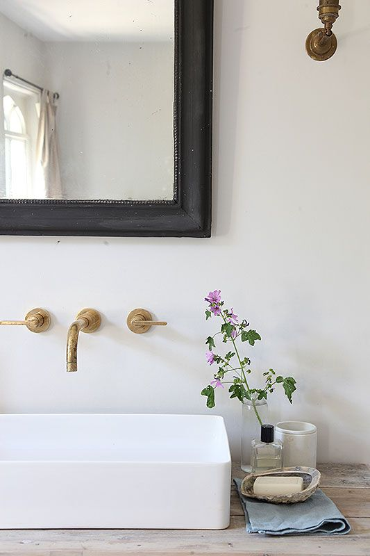 Fresh plant next to white sink with gold fixtures