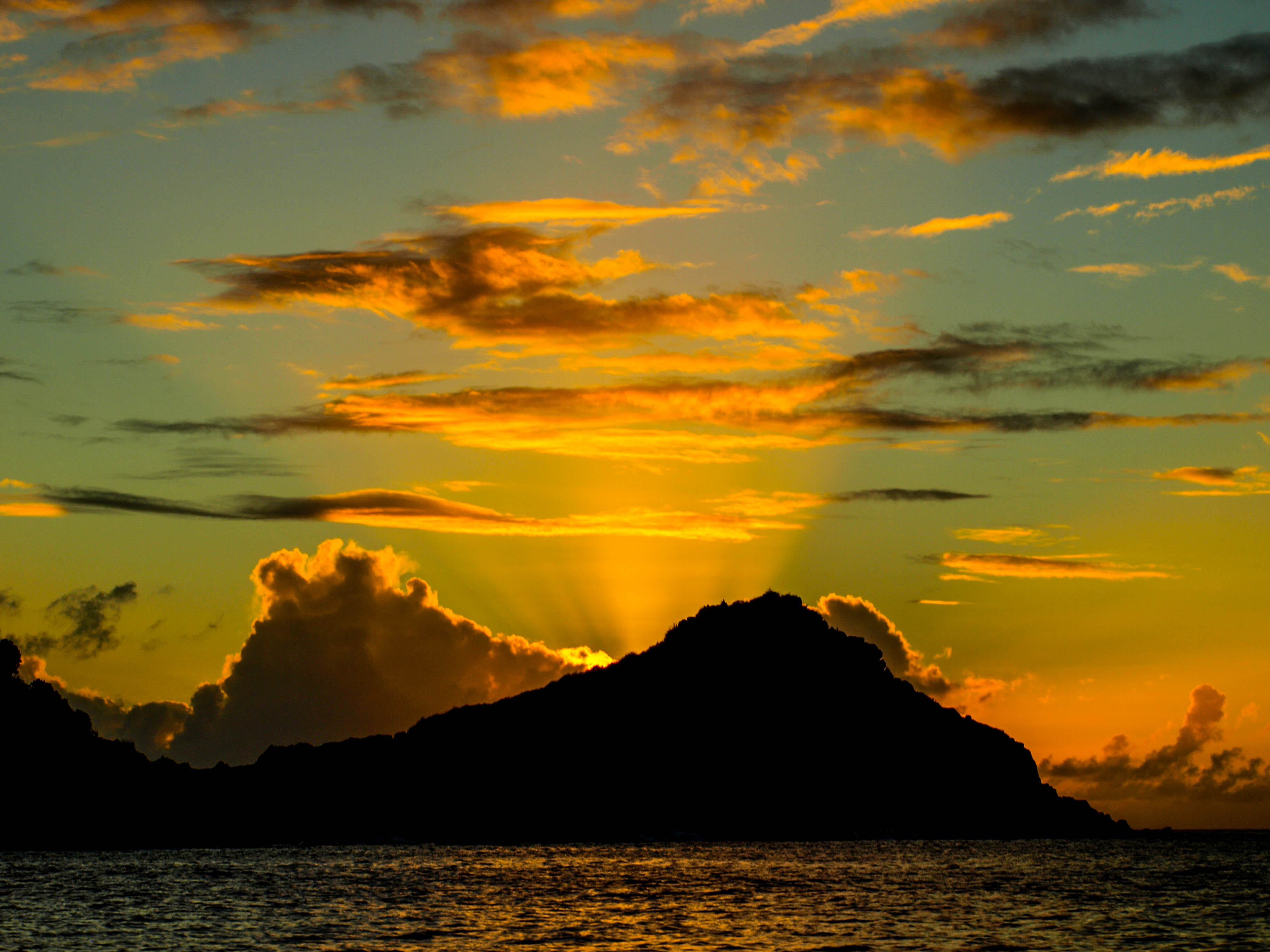 sunrise over Caribbean island