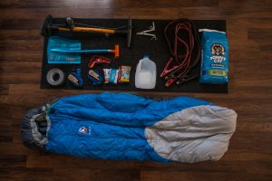 sleeping bag and emergency car supplies