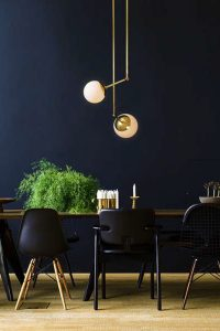 dining room with black paint