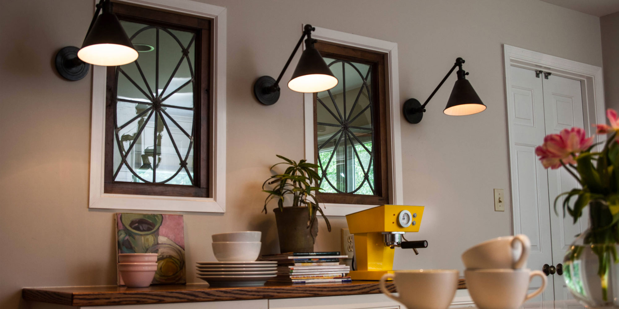 mirrors and light sconces