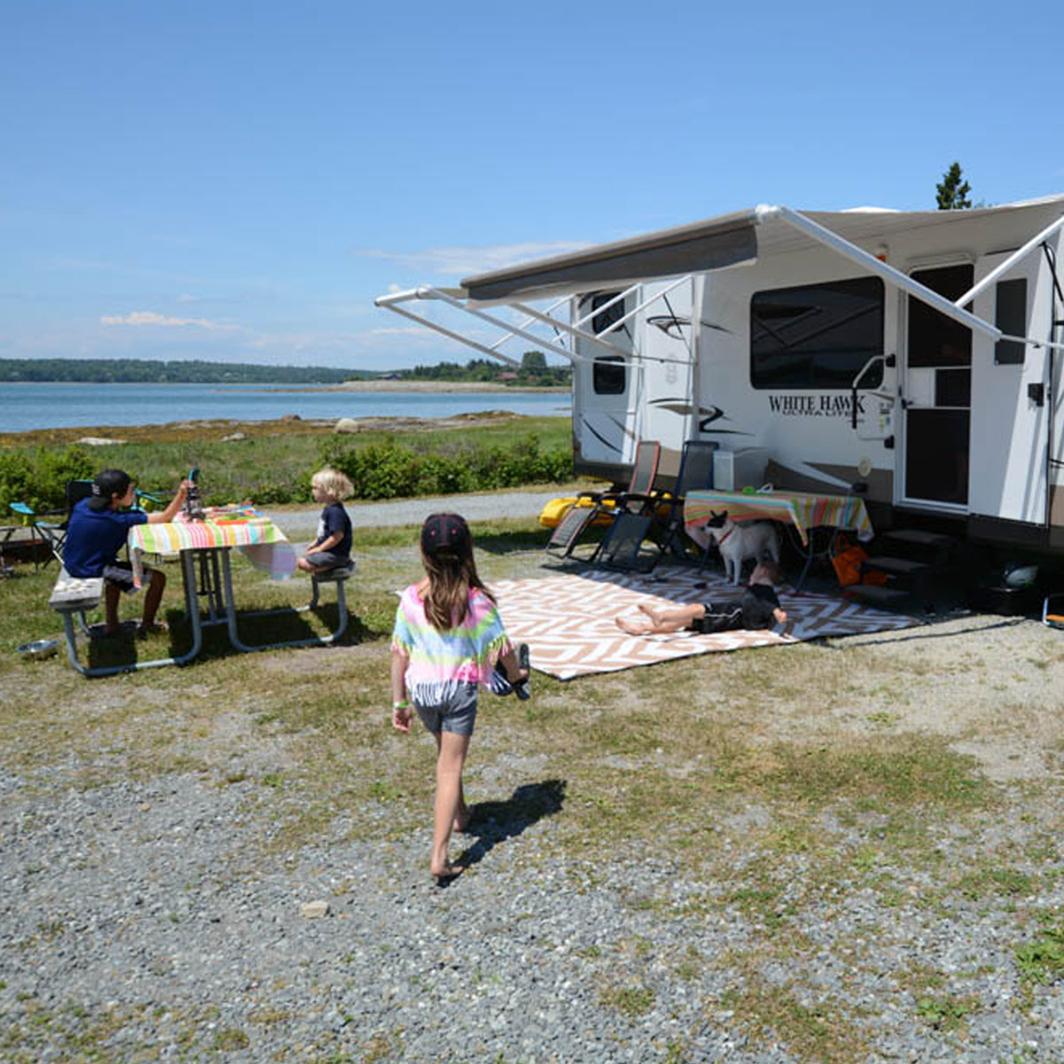 RV campground by lake