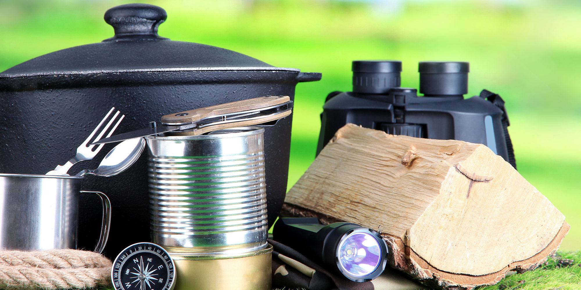 camping gear and pots and pans