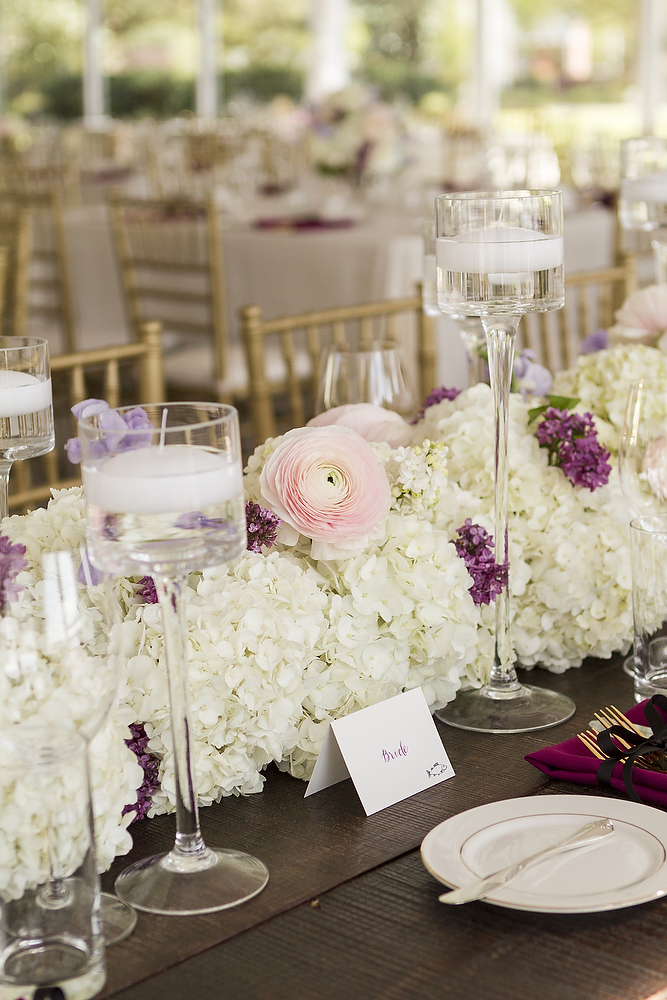 white hydrangeas and gold chivari chairs