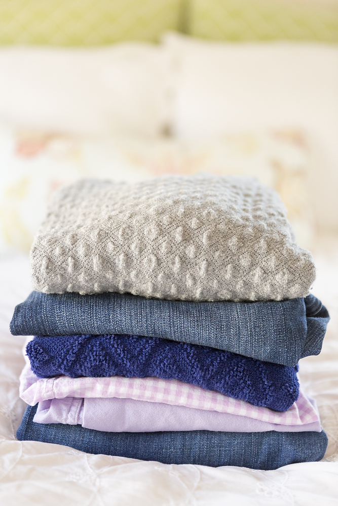 folded stack of laundry