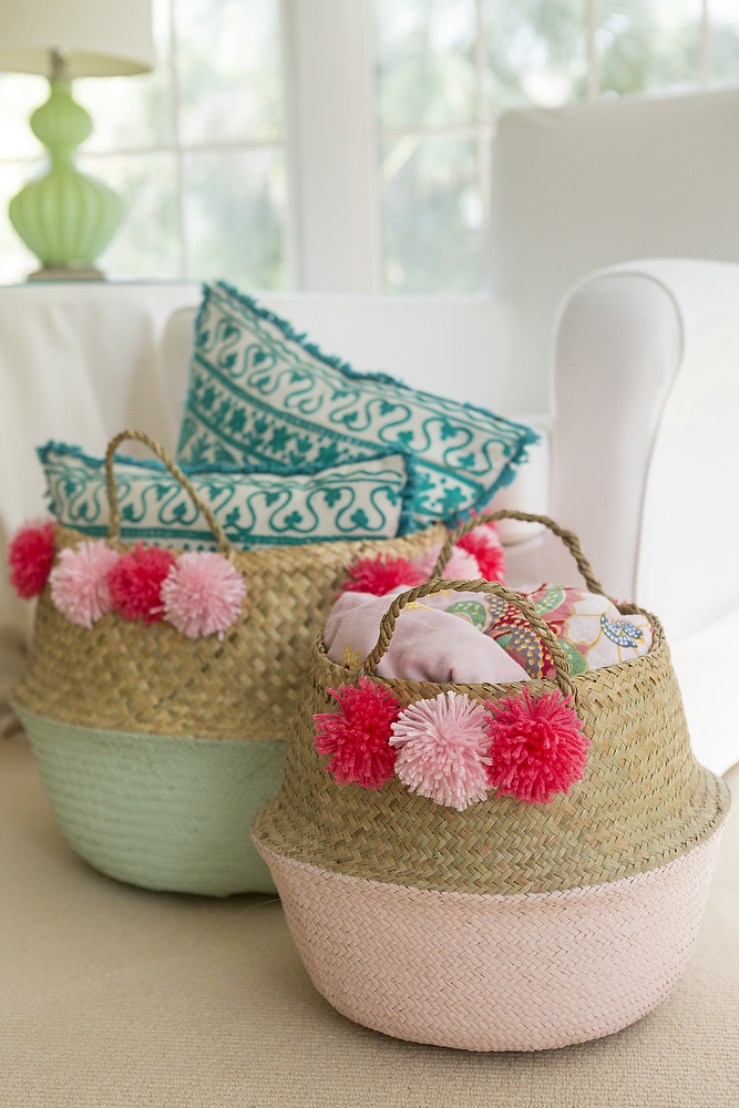 decorative woven baskets with tassels