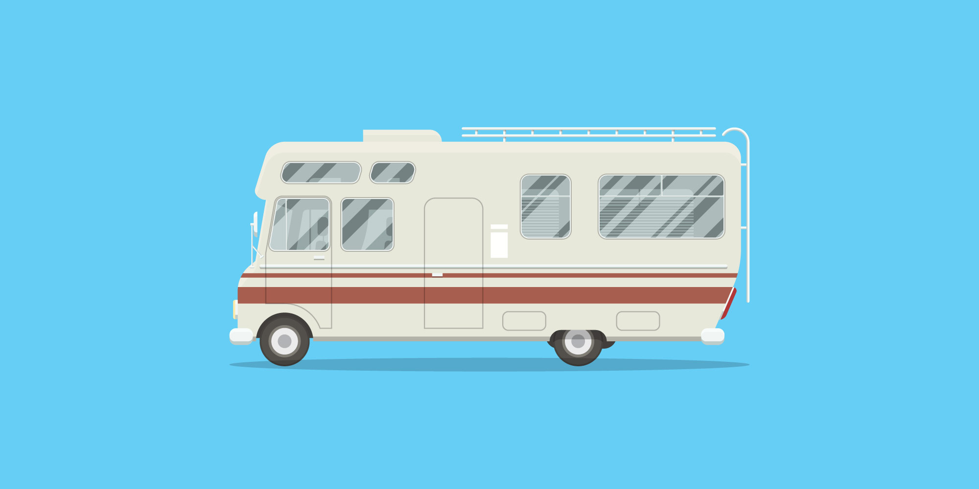 illustration of an RV on blue background