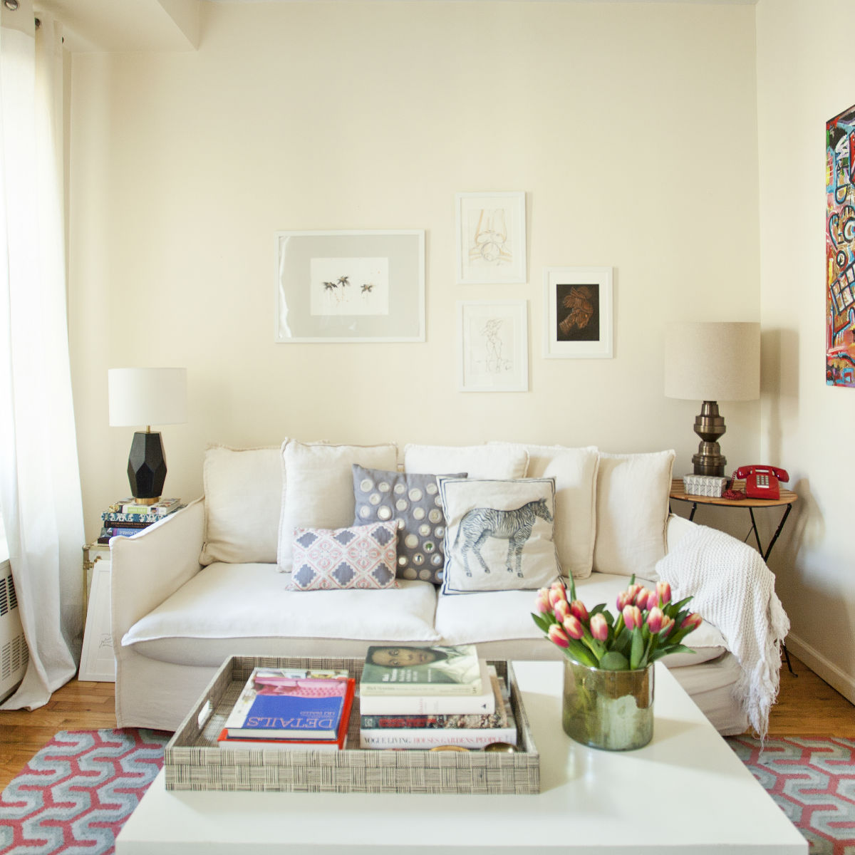 white walled living room
