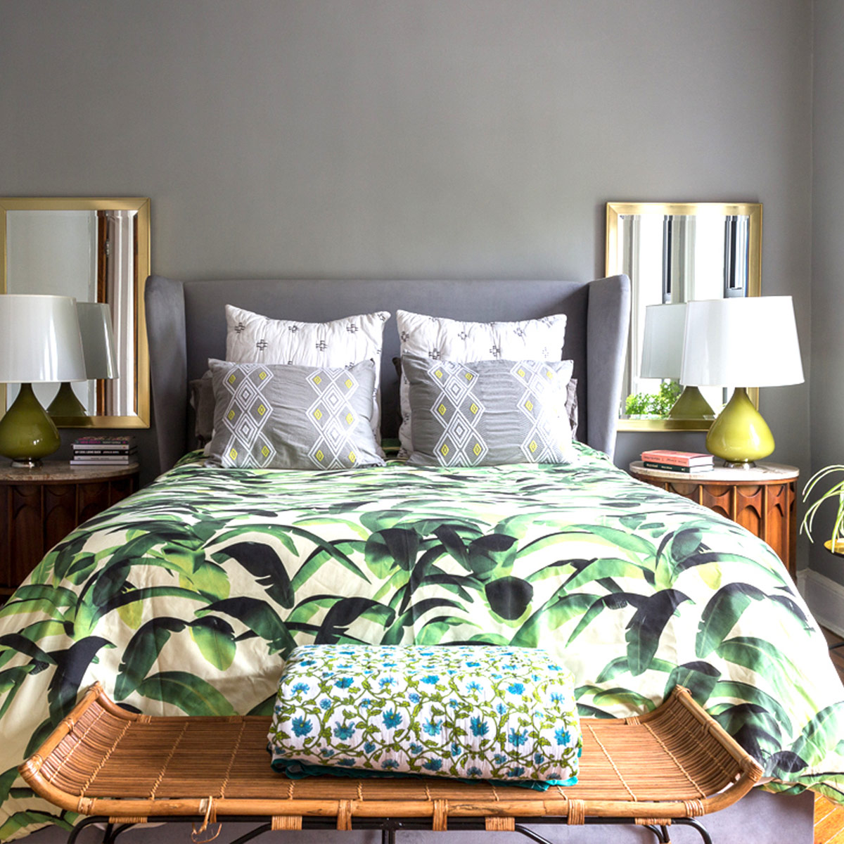 bedroom with bold printed bedding