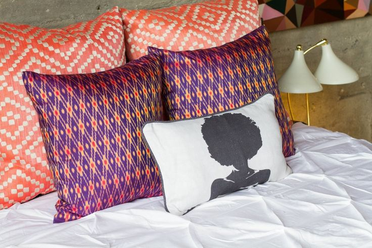orange and purple patterned pillows