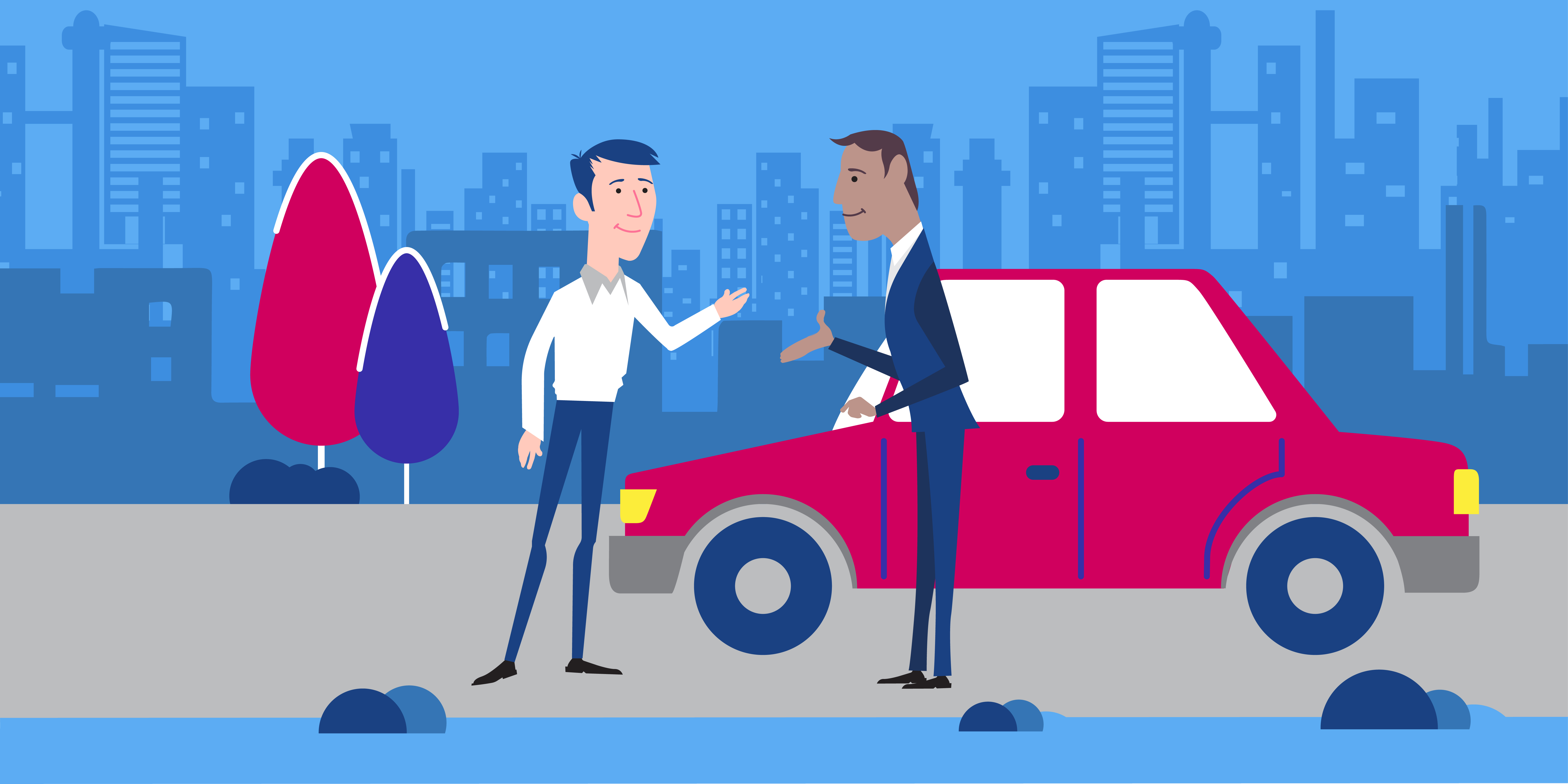 illustration two men standing in front of a car
