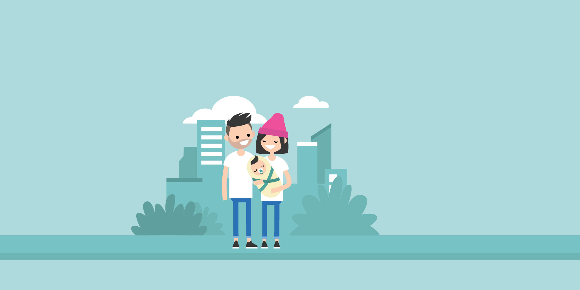 illustration of parents with a baby