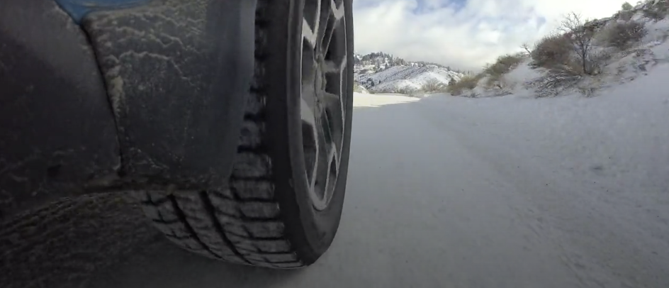 winter tire driving on snow
