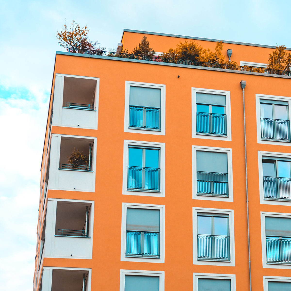 bright orange apartment building