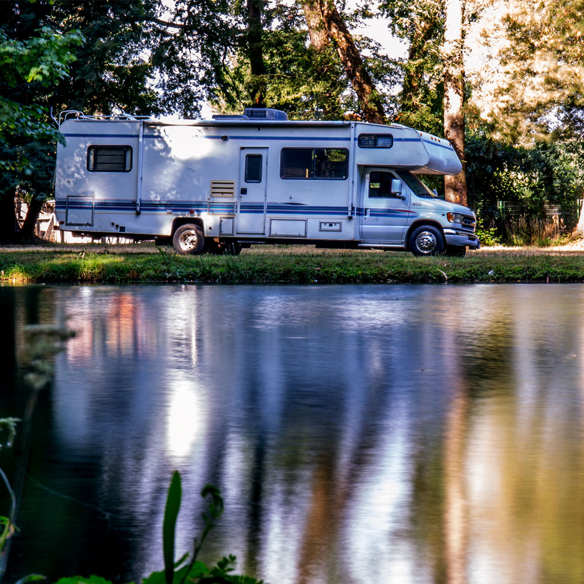 RV by the lake