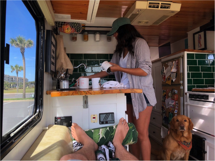 washing dishes in RV