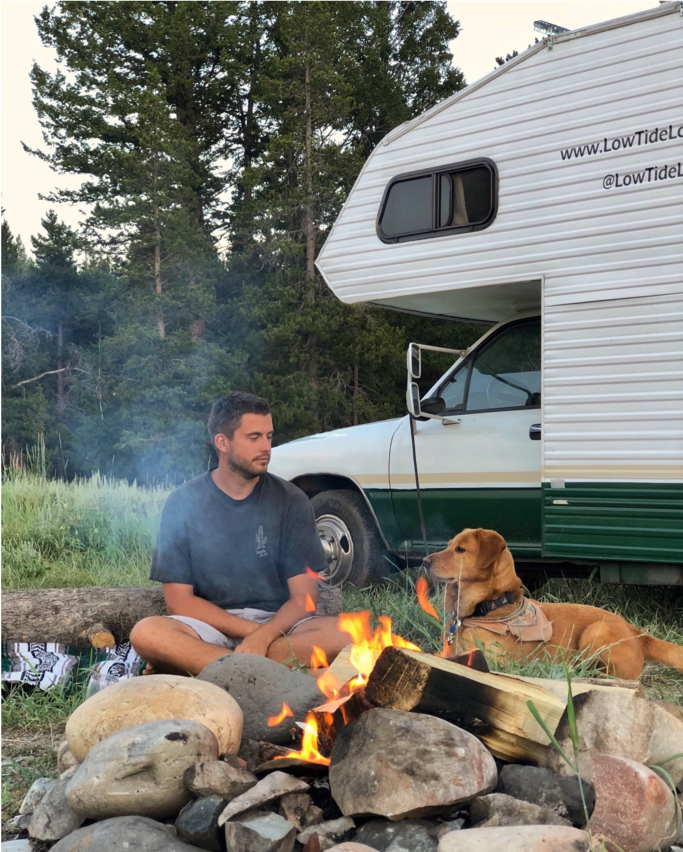 RV campfire with dog