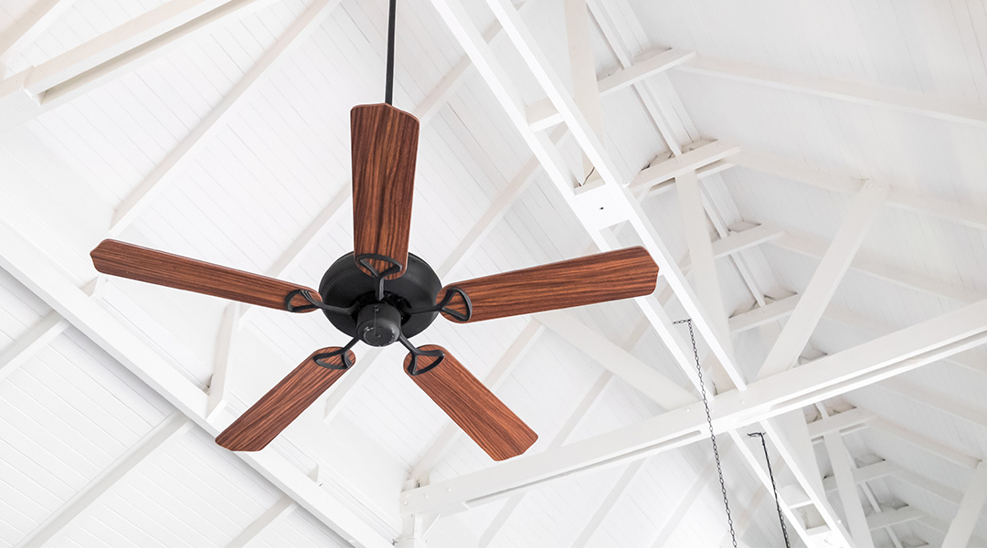 ceiling fan in white living room