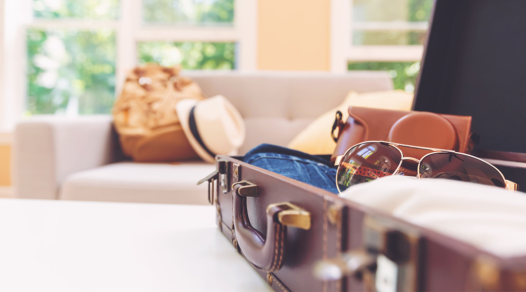 open suitcase in bright home