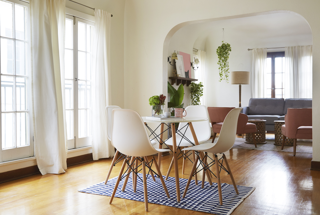 Small dining room table in apartment