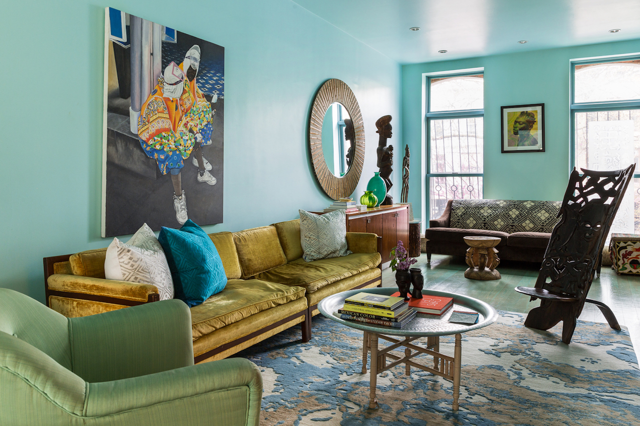 Teal room with teal ceiling