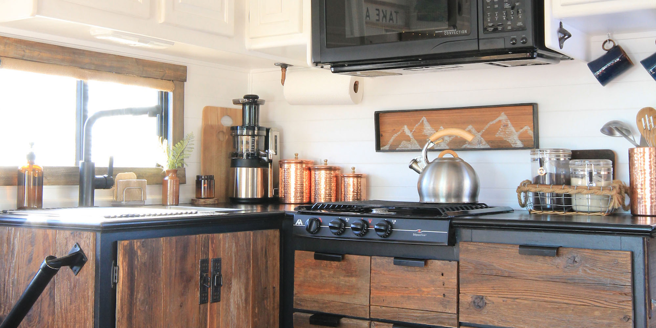 RV backsplash wooden