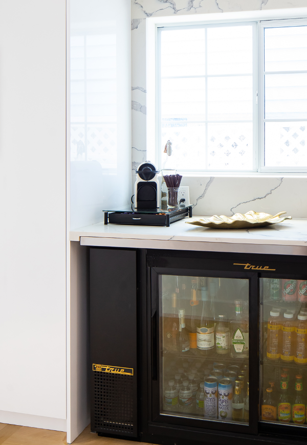 Coffee bar with stocked cooler