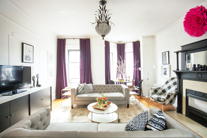 Room with purple drapes