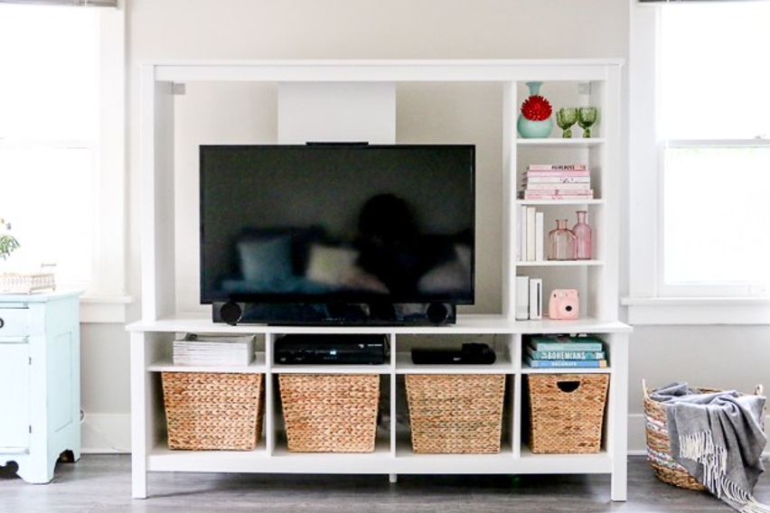 TV stand with baskets